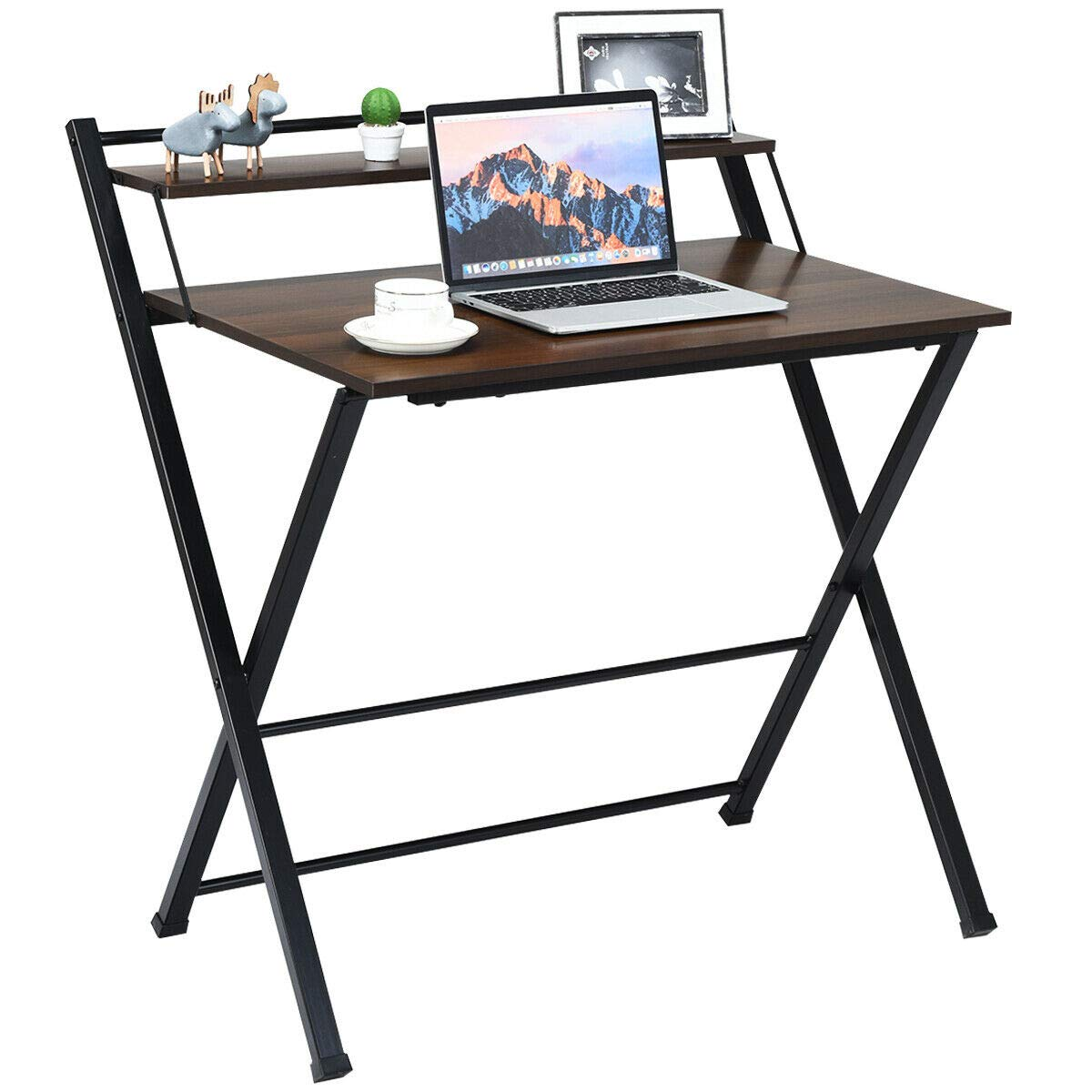 Tangkula Folding Computer Desk, Space-Saving Home Office Desk Working Table with Storage Shelf, Multipurpose Foldable Study Desk, Kid's Desk, Brown by Tangkula