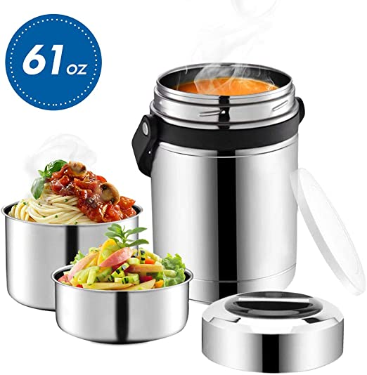 Amazon.com: Termo de sopa, tarro de comida con asa para ...