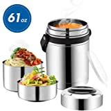 Soup Thermos Wide Mouth,61oz 3 Tier Large Food Thermos Jar,Food Flask for Hot Food with Handle,Thermal Soup Container…
