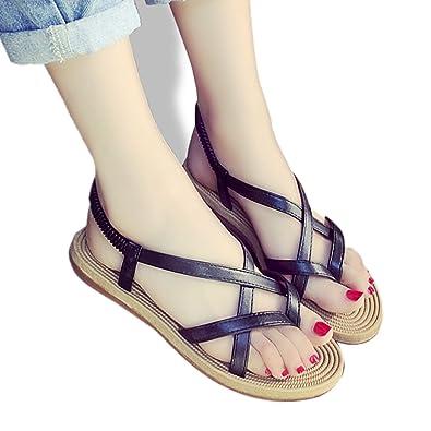 bd9b09869232 INNICON Gladiator Sandals Women Summer Ladies Dress Shoes Woman Beach Shoes  Flat Sandals Black