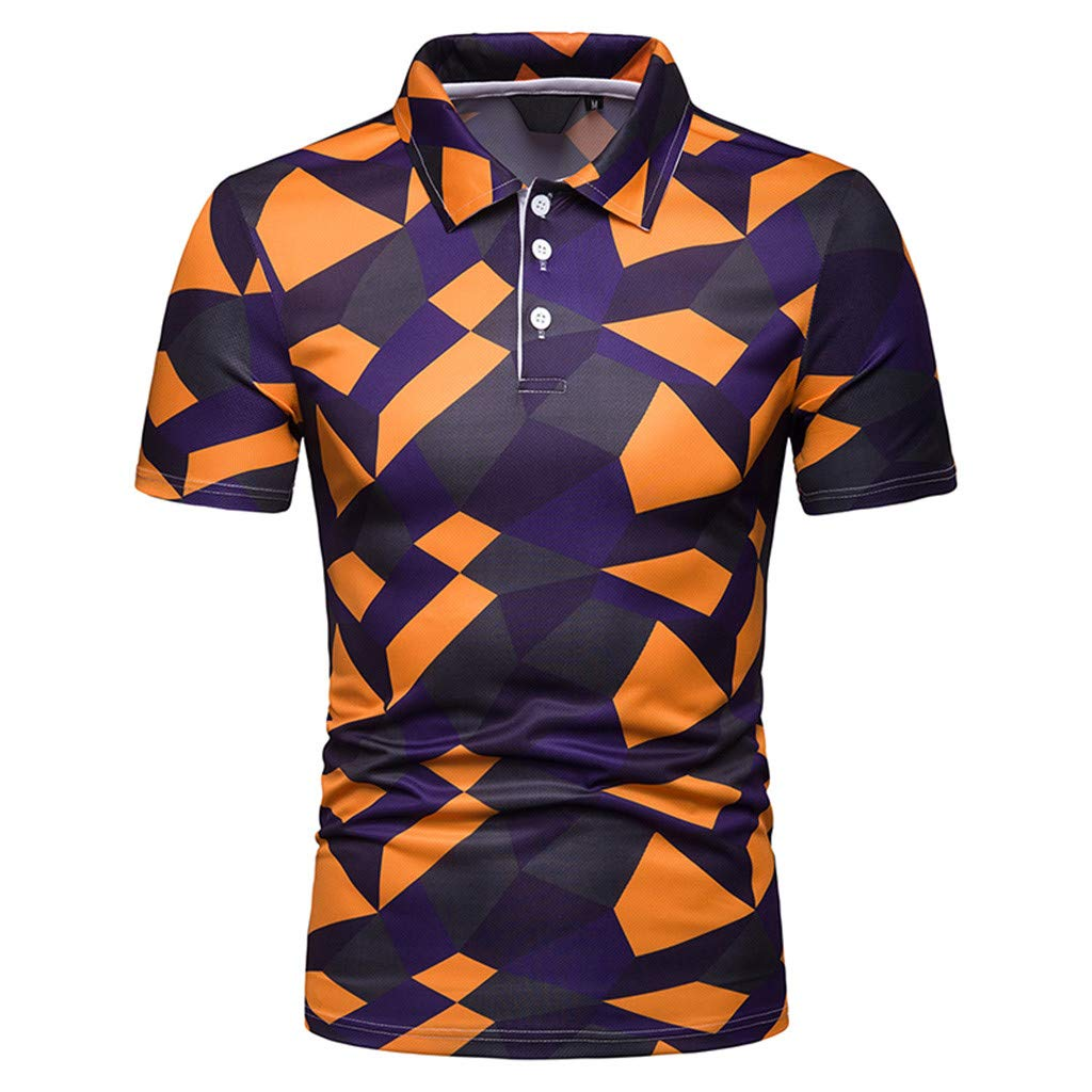 XLnuln Men's Fashion Short Sleeve Stripe Painting Large Size Casual Top Blouse Shirts Quick-Dry Golf Polo Shirt Orange
