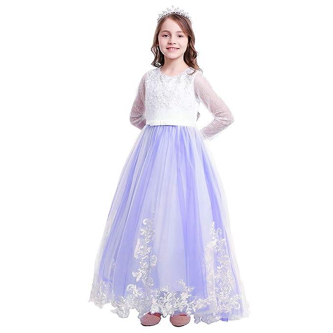 OBEEII Vestido de Comunion Niña Vestido Princesa Manga Larga ...