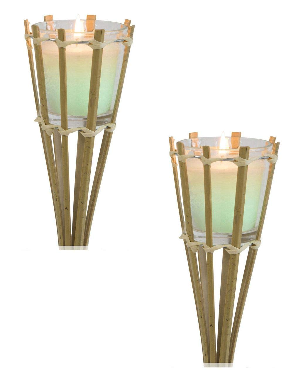 Set of 2 Bamboo Colour Changing LED Citronella Candle Garden Torch