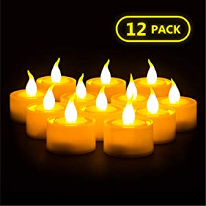 Furora LIGHTING Flameless LED Tealight Candles - Battery Operated Tea Lights with Electric Flickering Flame for Romantic Wedding Decorations, Gift, Indoor Home and Christmas Decor - Ivory, Pack of 12