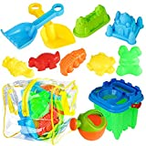 13 Pack Beach Toys Set, Sand Toys Set - Summer Fun at The Beach - Buckets Shovel Sprinkler Sand Castle Molds Sandbox Toys Tool Set with Strong PVC Bag