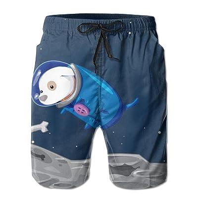 Summ Space Dog Want Bone Men Summer Beach Boardshorts