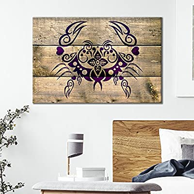 Canvas Wall Art - Crab Pattern on Wood Style Background - Giclee Print Gallery Wrap Modern Home Art Ready to Hang - 12x18 inches
