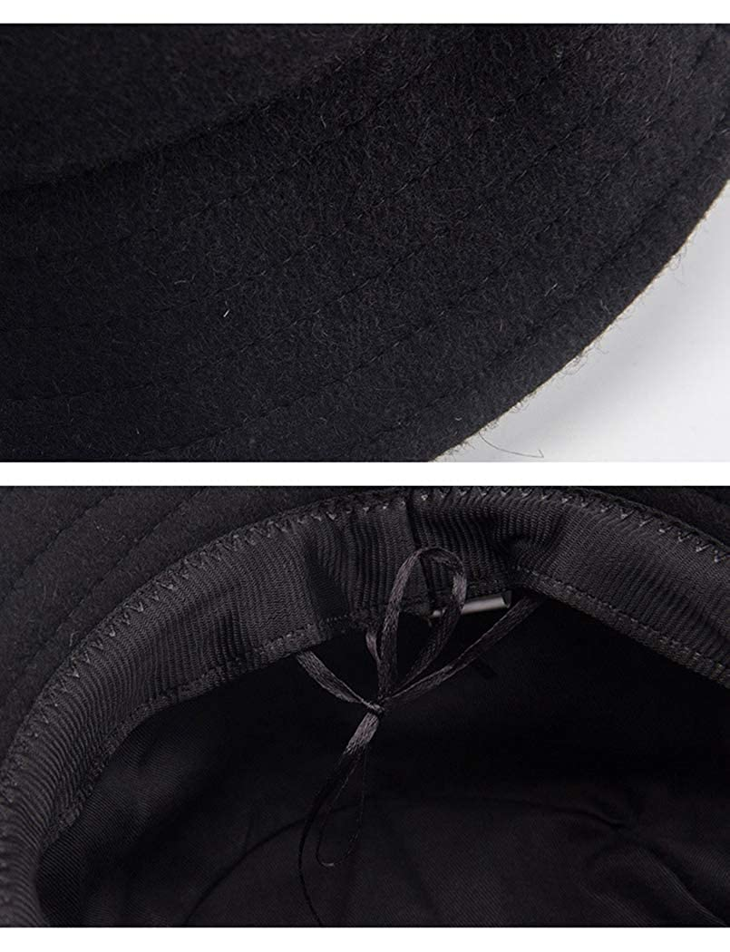 RXIN Unisex Winter Panama Hat Solid Color Flat Fisherman Bucket Cap Hip Hop Chapeau