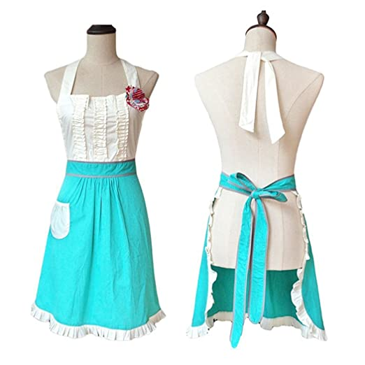 Old Fashioned Aprons & Patterns Cute Style Womens Cooking Apron Kitchen Apron Baking Apron with Pocket Great Gift For Wife Daughters $17.99 AT vintagedancer.com