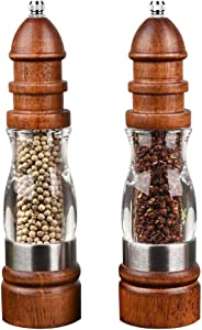 Salt and Pepper Grinder Set of 2,Adjustable Ceramic Sea Salt and Pepper Spice Mill,Premium Wood Acrylic Salt and Pepper Shakers 8 Inch