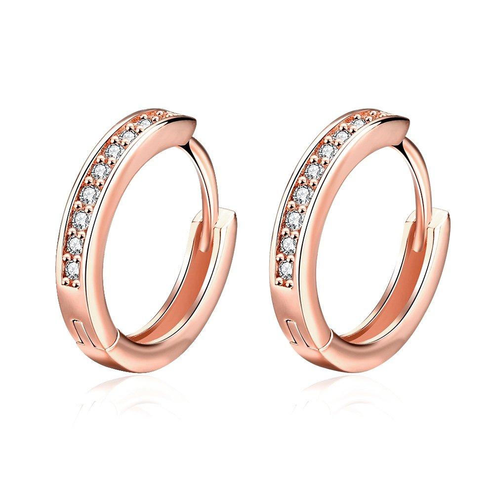 Changgaijewelry Rose Gold Plated Cubic Zirconia Small Hoop Earrings for Women Teen Girls Fashion Crystal CZ Huggie Hoops Hypoallergenic