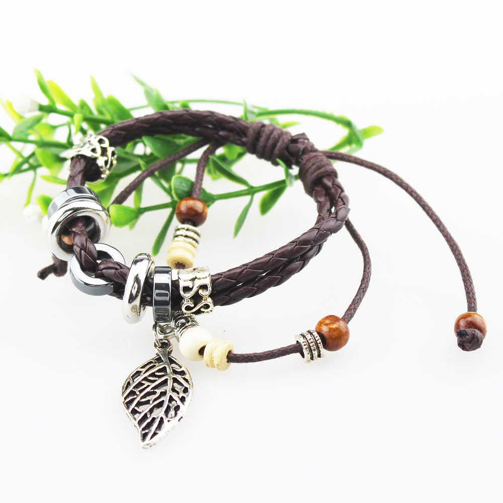 FOY-MALL Metal Leaf Charm Adjustable Braided String Bracelet E1191M