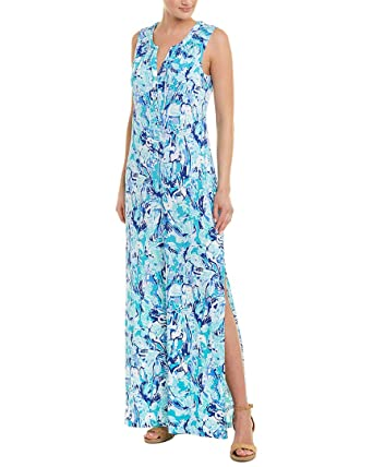 73a3e8d742f4 Lilly Pulitzer Women s Essie Maxi Dress Tropical Turquoise Elephant ...