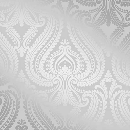 Shimmer Damask Wallpaper Soft Grey Silver ILW980043