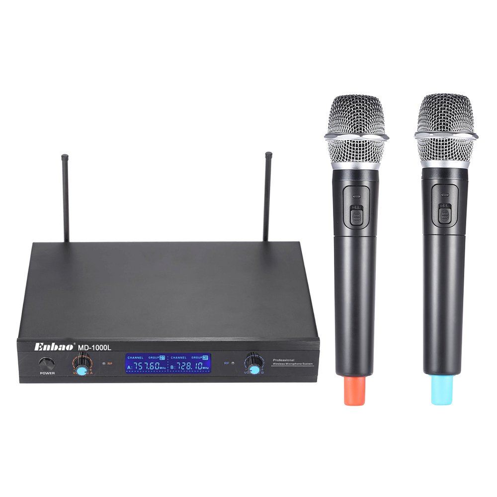 Walmeck Wireless Microphones System 2 Microphones 1 Receiver LCD Display for Karaoke Meeting Party