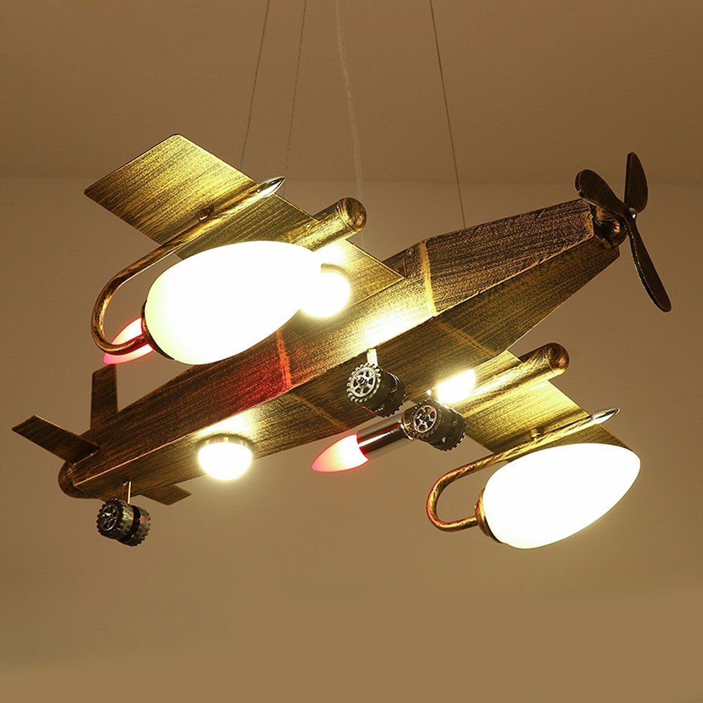 Industrial Wind Retro Chandelier Creative Bar Café Restaurant Clothing Shop Bedroom Iron Airplane Light by Baron W.H