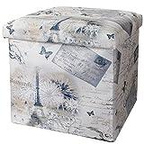Valdler Home Paris Effiel Tower Folding Storage Ottoman Footstool Multi-function Storage Box