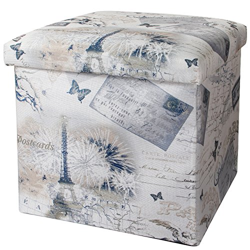 Valdler Home Paris Effiel Tower Folding Storage Ottoman Footstool Multi-function Storage Box For Children