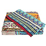 TideTex Boho Bedding Sheet Set 100% Cotton Geometry Bed Sheet Set Bohemian Style Bedding 4Pcs-Fitted Sheet Flat Sheet Shams Sets Queen (Queen, A)