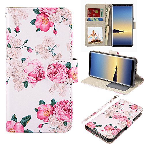 UrSpeedtekLive Galaxy Note 8 Case, Galaxy Note8 Wallet Case, Premium PU Leather Wristlet Flip Case Cover with Card Slots & Stand for Samsung Galaxy Note8, Flower 2 ()