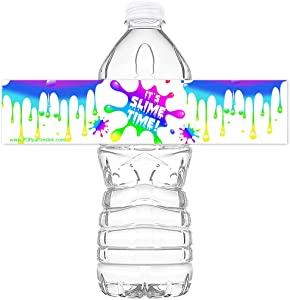 POP parties Slime Rainbow Party Bottle Wraps - Set of 20 Waterproof Bottle Stickers - Slime Water Bottle Labels - Slime Party Decorations - Rainbow Bottle