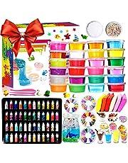 DIY Slime Fluffy Kit - 24 kleuren slijmkit voor meisjes jongens speelgoed met 48 glitterpoeder, helder slijmaccessoire voor handwerk voor kinderen, luchtdroog klei, fruitschijven en -gereedschap