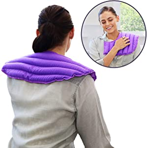 My Heating Pad Microwavable Heating Pad for Neck and Shoulders Pain Relief | Reusable Hot Cold Pack | Weighted Neck Wrap | Moist Heat Heating Pad | Neck Heating Pad | Shoulder Heating Pad (Purple)