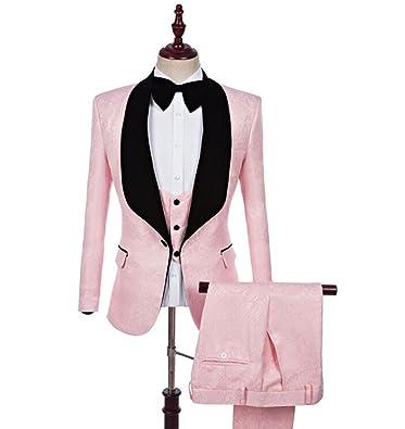 Amazon.com: groomsmen chal solapa novio tuxedos Rojo/Blanco ...