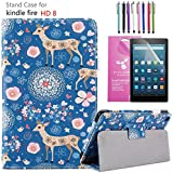 """EpicGadget Case for Amazon Fire HD 8"""" 2018/2017, Auto Sleep/Wake (8th and 7th Generation) Fire HD 8 PU Leather Folding Folio Smart Cover Case For Fire HD 8 Inch 2018/2017 Release (Deer)"""