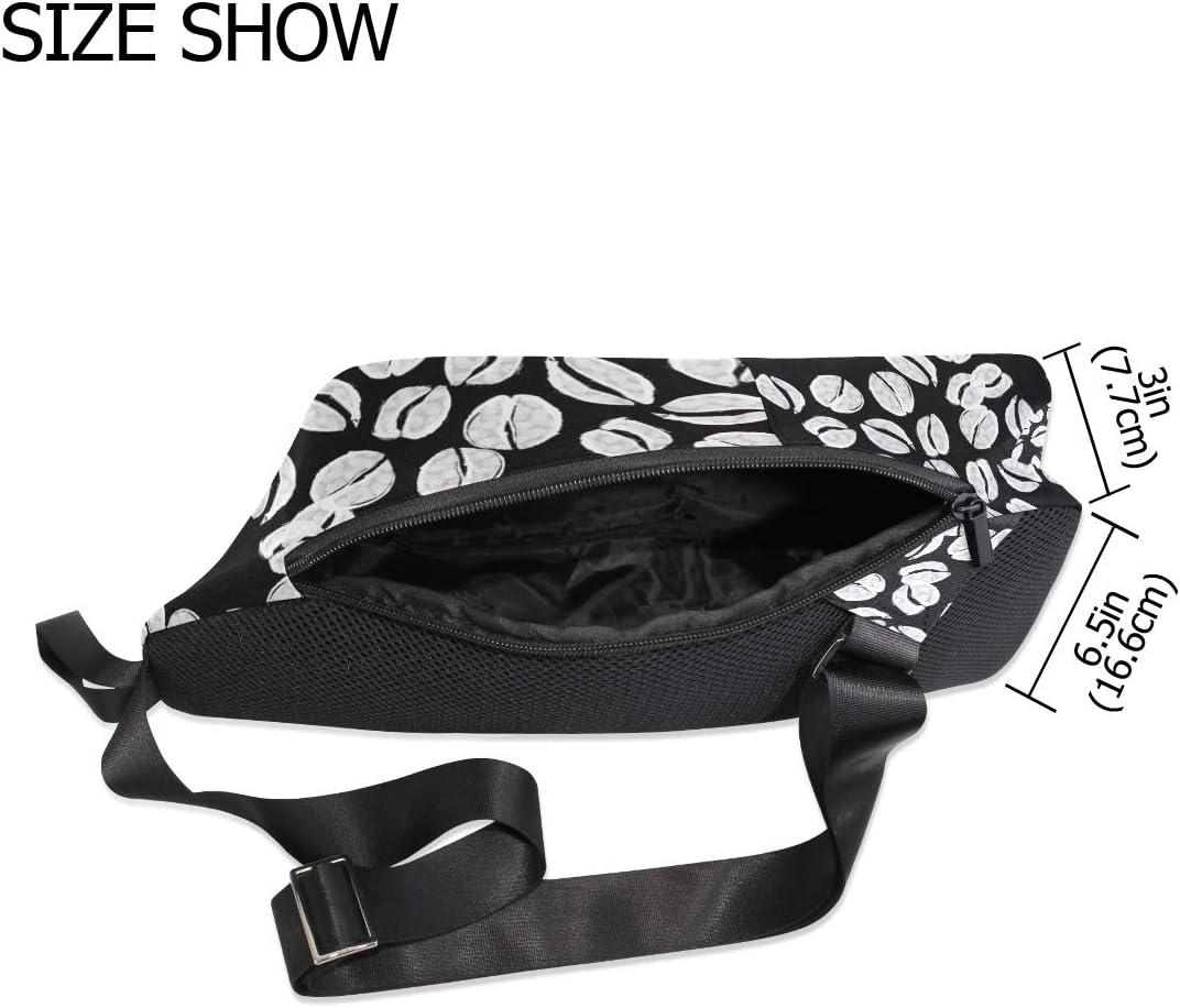 Unisex Messenger Bag Black White Coffee Beans Shoulder Chest Cross Body Backpack Bag