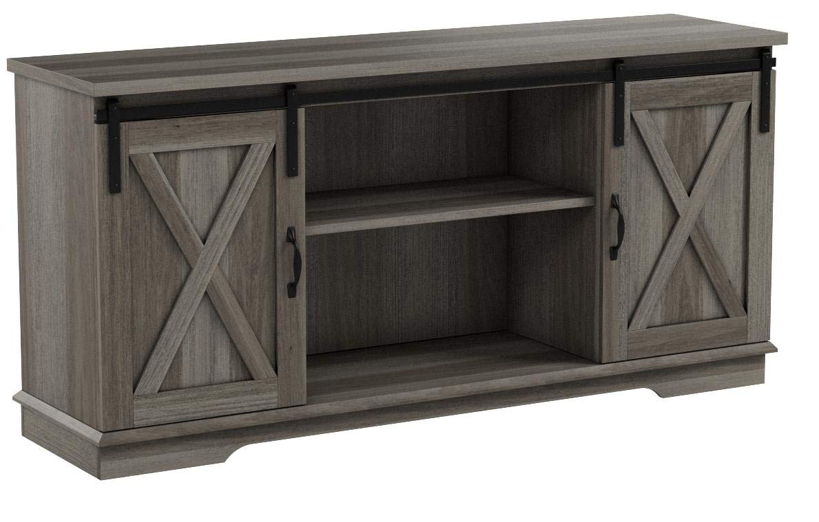 New 58 Inch Sliding Barn Door Television Stand - Grey Wash Finish by Home Accent Furnishings