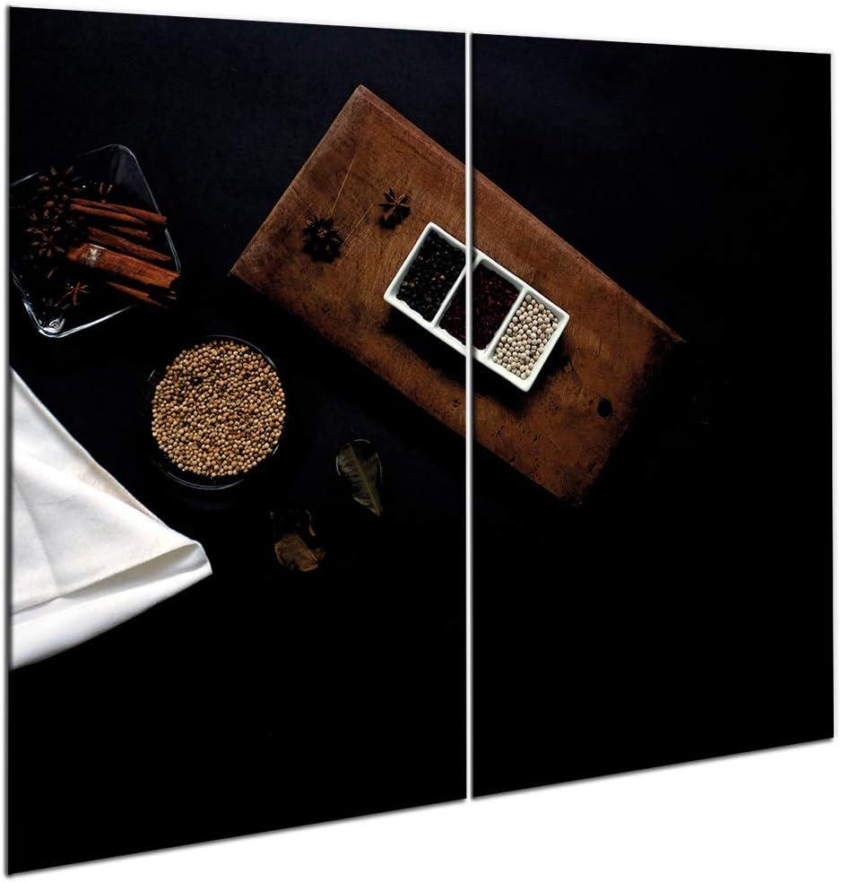 Herdabdeckplatten aus Glas Spritzschutz von semUp Herdabdeckplatte 2 Teilig Herdabdeckung 2 St/ück 30 x 52 cm Schneidebrett 2er-Set K/üche Elektroherd Induktion Herdschutz