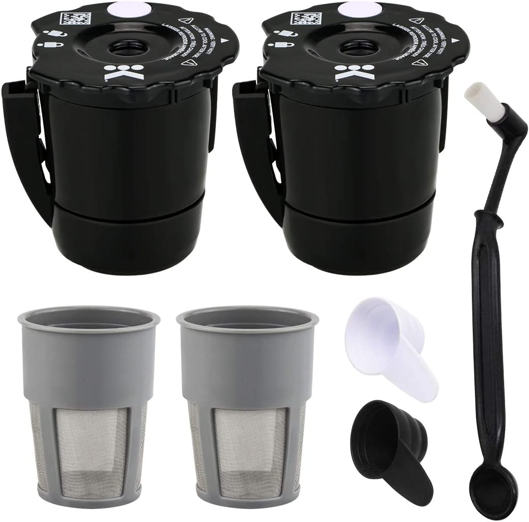 Reusable Coffee Filter for Keurig My K Cup 2.0 Replaceable Coffee Filter for Keurig My K Cup Nylon Bristle Cleaning Brush Coffee Spoon, Compatible with Keurig Classic Series (black)