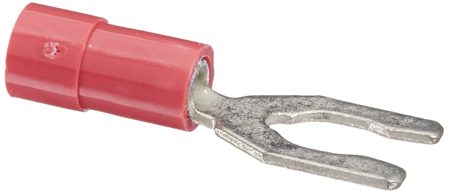 10 Stud Size 22-18 Wire Size Vinyl Insulated Spade Terminal with Locking Spade 0.331 Width 0.885 Length
