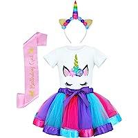 JiaDuo Girls Costume Rainbow Tutu Skirt with White Shirt, Headband & Satin Sash