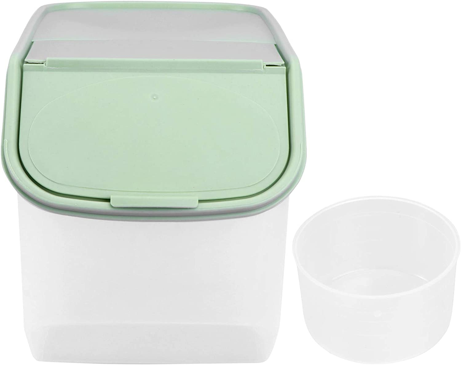 Hemoton Rice Storage Container, Plastic Large Rice Container Bin with Measuring Cup, Airtight Cereal Rice Dispenser, Flip-Top