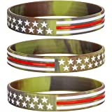 Sainstone Camouflage Army Rubber Bracelets, Military Silicone Wristbands with American USA Flag in Army Green and Desert Camo