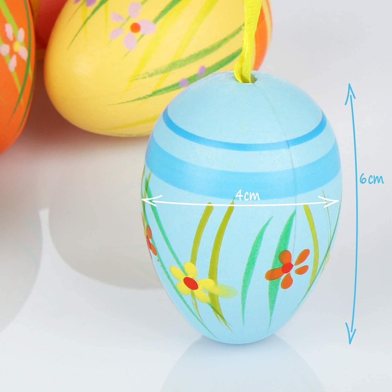Qinlee D/écoration de P/âques avec Motifs Floraux D/écoration doeufs de P/âques en Couleurs comme d/écoration de P/âques 24x Oeufs de P/âques color/és /à Suspendre