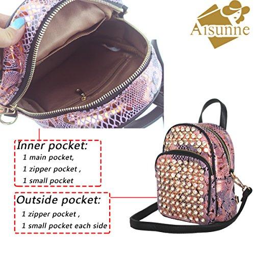 Rhinestone Aisunne Mini Rivets Fashion Pink Women purse Backpacks Backpack For rY6w4xCrq