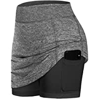 ASHER FASHION Women's Casual Yoga Shorts Tennis Active Skirts Inner Shorts Elastic Sports Golf Skorts with Pockets