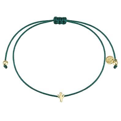 abholen Verkauf Einzelhändler einzigartiger Stil Glanzstücke München Damen-Textilarmband grün Kaktus Sterling Silber  gelbvergoldet 15-22 cm - Armbändchen Armband mit Anhänger Stoffbändchen ...