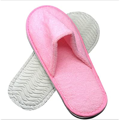 2 Pair Hotel Travel Spa Disposable Slippers Home Guest Slippers Unisex-Pink Towelling Cloth Slippers