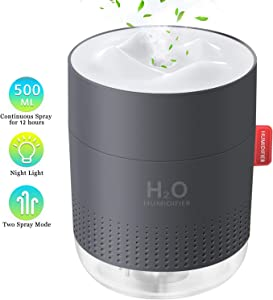 FoPcc 500ml Portable Humidifier, Mini Cool Mist Humidifier with Night Light, USB Personal Humidifier Auto Shut-Off, Ultra-Quiet, 2 Spray Modes, Suitable for Home Baby Bedroom Office Travel (Gray)