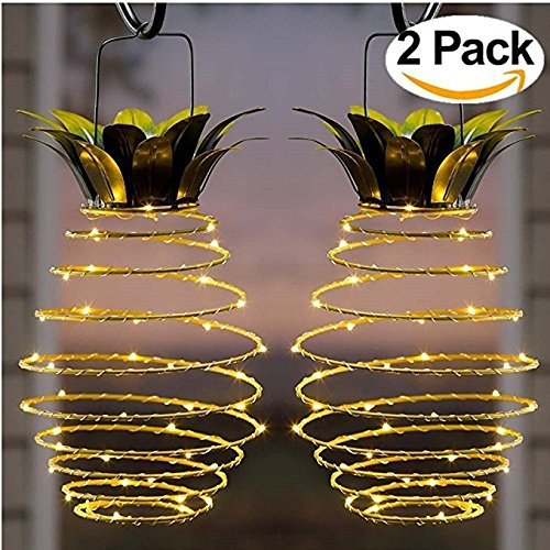 Secologo Garden Solar Lights, Outdoor Decor Pineapple Solar Path Lights Hanging Fairy Lights, 2-Pack Waterproof 25 Solar Led Warm Fairy String for Patio Path Home Décor Lighting