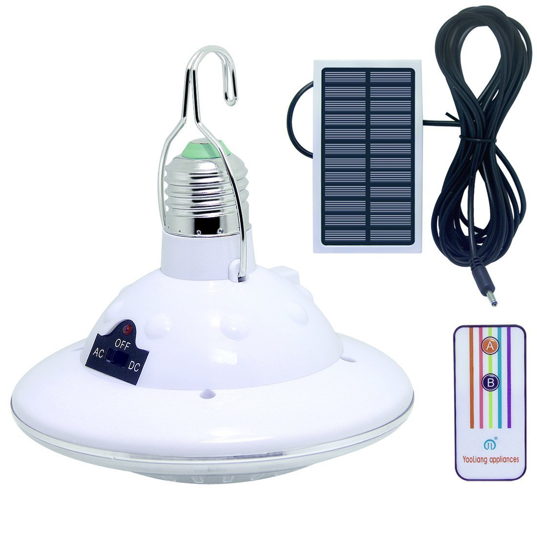 LISOPO 22LED Solar Remote Control Lights,Portable Outdoor Solar Lamp Hooking Garden Camp Emergency Lighting Chandelier