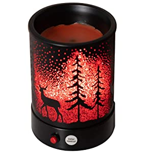 Hituiter Wax Melts Candle Warmer Classicand 7 Color LED Lights Christmas deer Forest Design Fragrance Oil Warmer Lamp Changing for Home Décor (230WH-W-DP) B