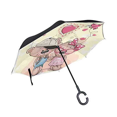 9bad0196a853 Amazon.com : U LIFE Reverse Inverted Sun Rain Umbrella Happy ...