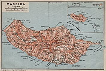 Madeira Island Topo Map Portugal Mapa Baedeker 1911 Amazon Co