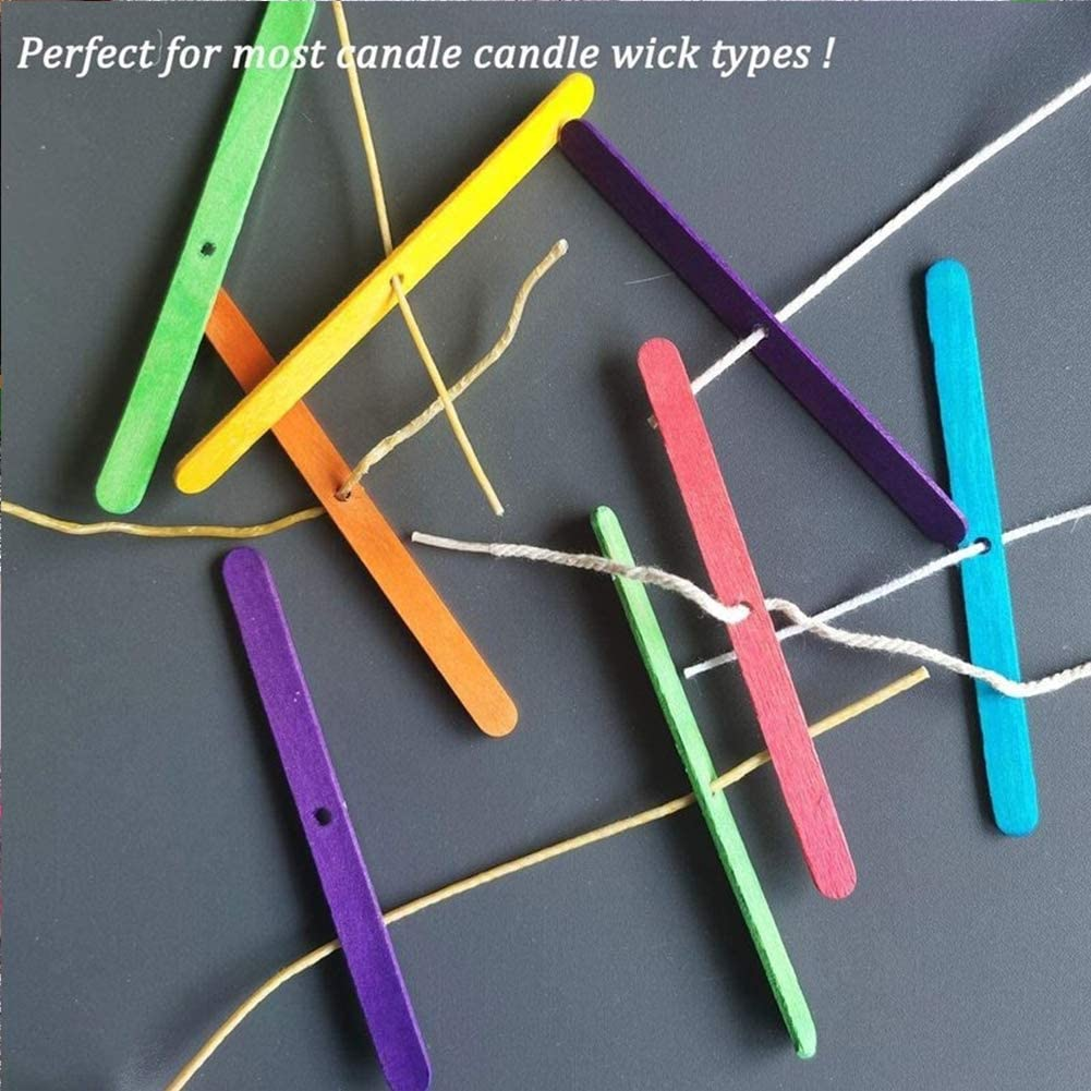 Candle Wick Holders 120 Pieces Wooden Candle Wick Bars Candle Wick Centering Device Wick Clips for Candles Candle Wicks Making Accessories Candle Centering Tool for Candle Making Mixed Color