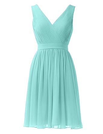 Alicepub Chiffon Bridesmaid Dresses Short Prom Gown Evening Party Dress V-neck, Aqua Blue